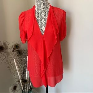 ARITZIA Babaton Tinsley 100% Silk Blouse Coral Med